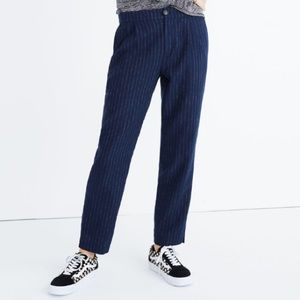 Madewell Track Navy Blue Pinstripe Trousers Pants